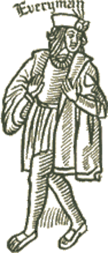A woodcut of the 15th century Everyman