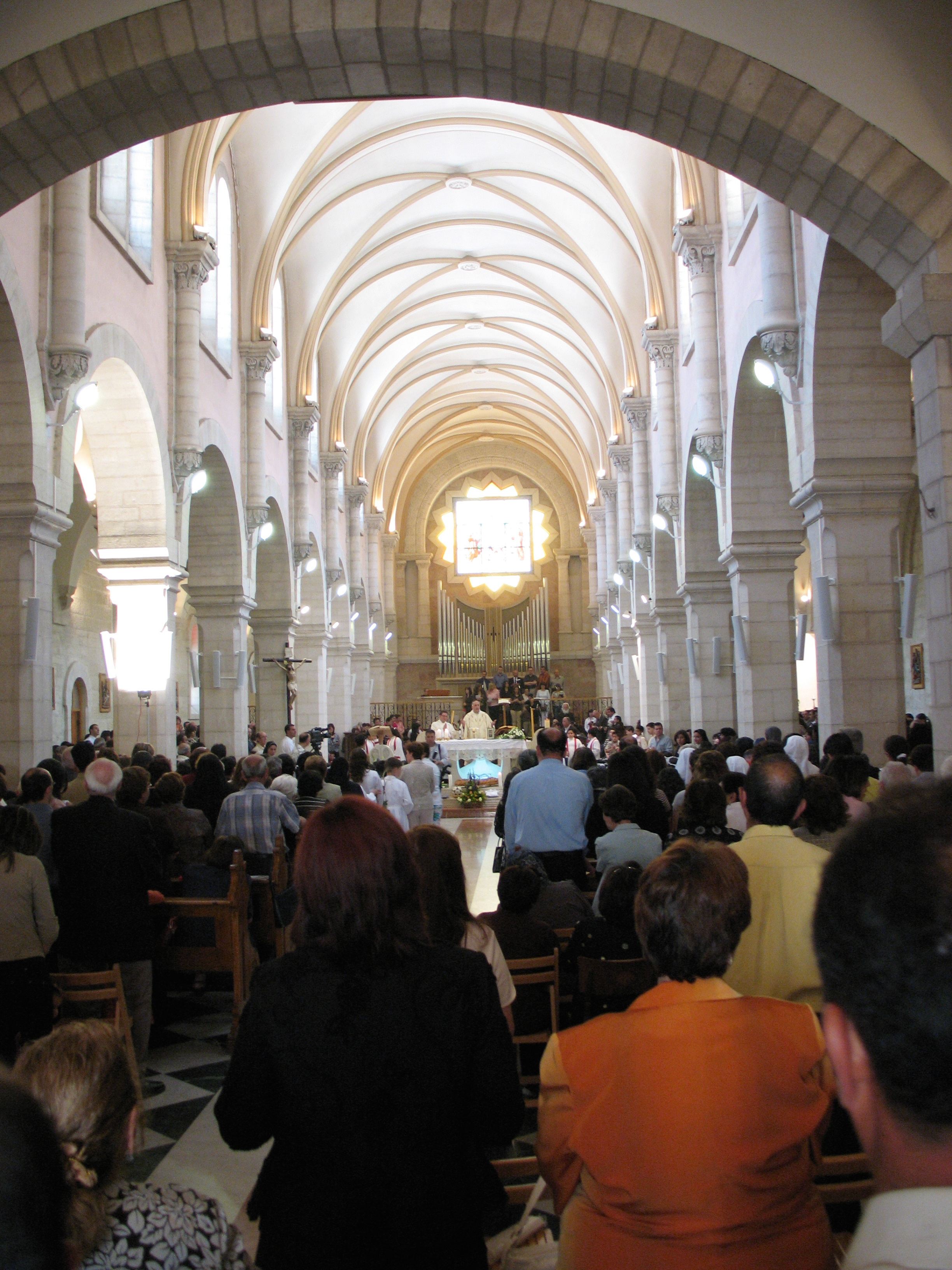 A church filled with worshippers for Mass