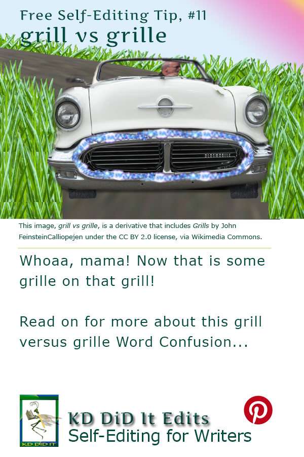Pinterest pin for Grill versus Grille