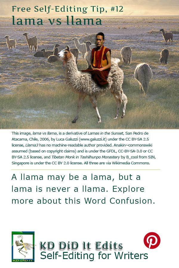 Pinterest pin for Lama versus Llama