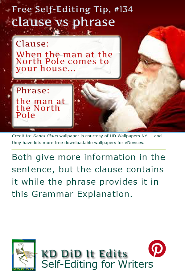 Pinterest pin for Clause versus Phrase