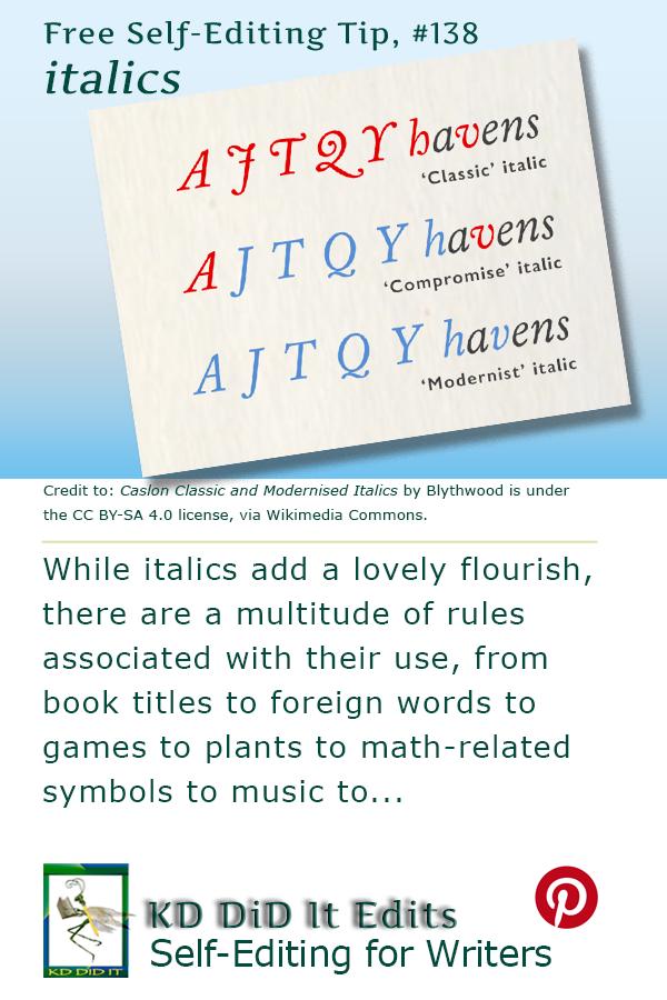 Formatting Tip: Italics