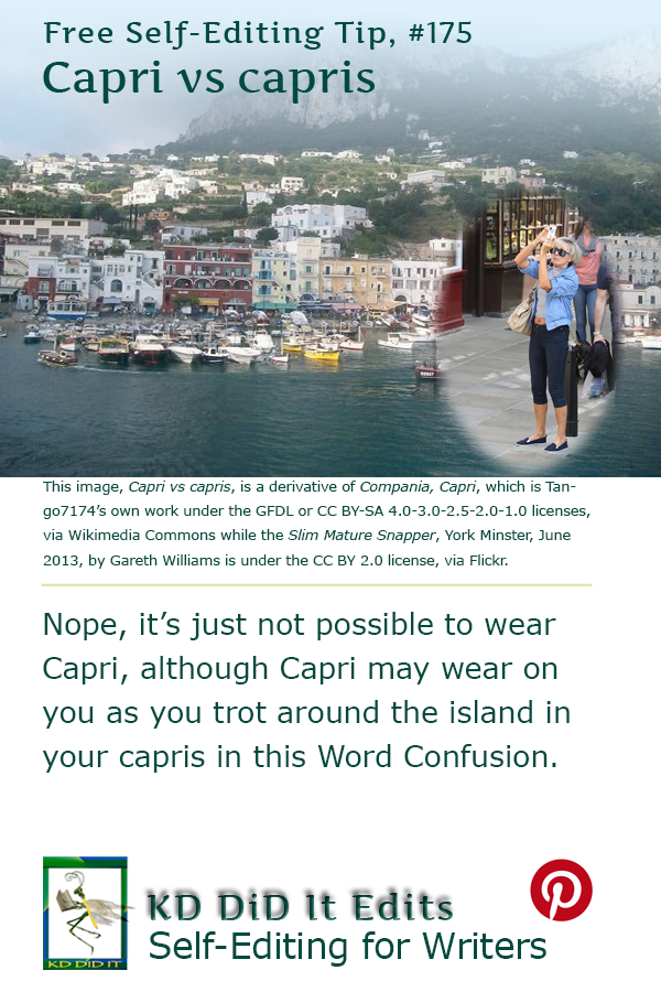 Pinterest pin for Capri versus capris