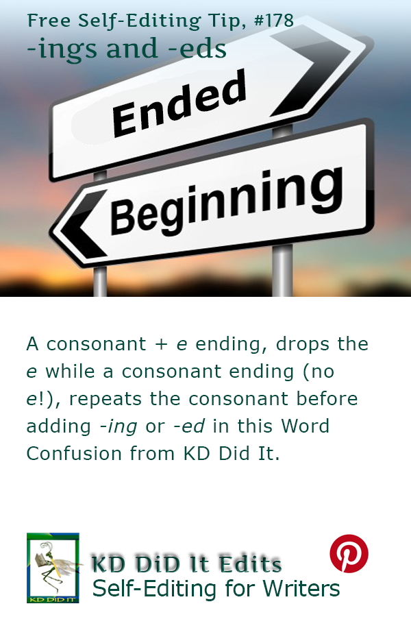 Pinterest pin for -ing and -ed Endings