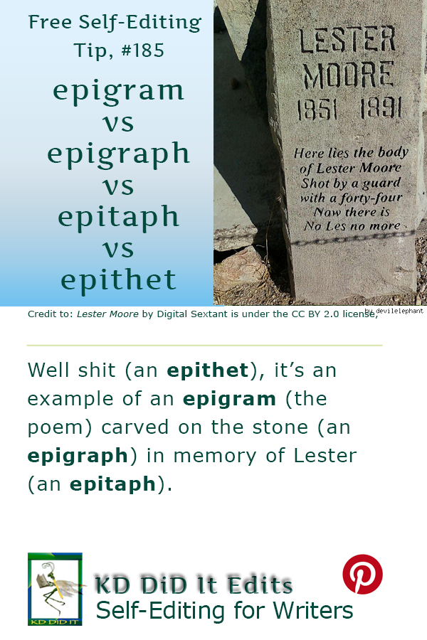 Pinterest pin for Epigram vs Epigraph vs Epitaph vs Epithet