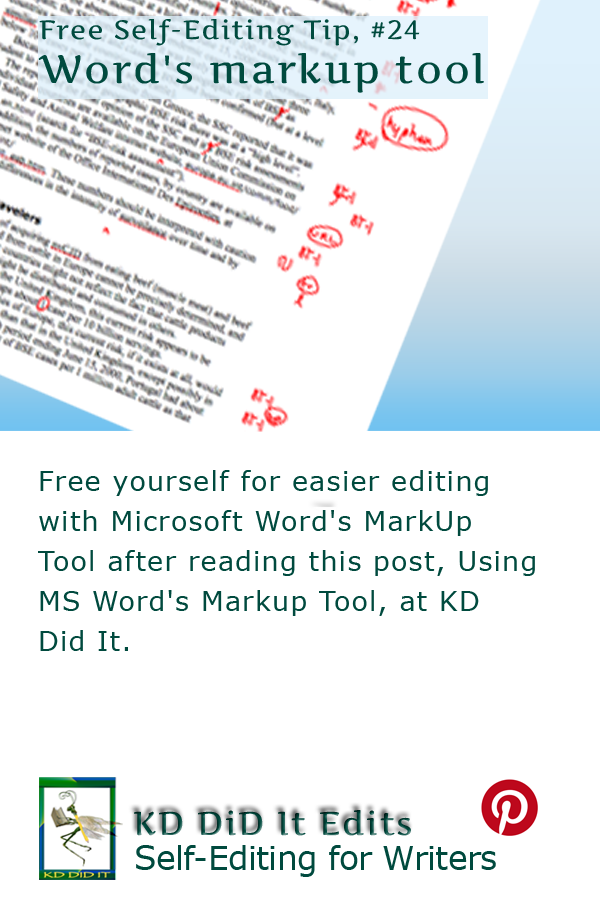 Pinterest pin for Using Microsoft Word's MarkUp Tool