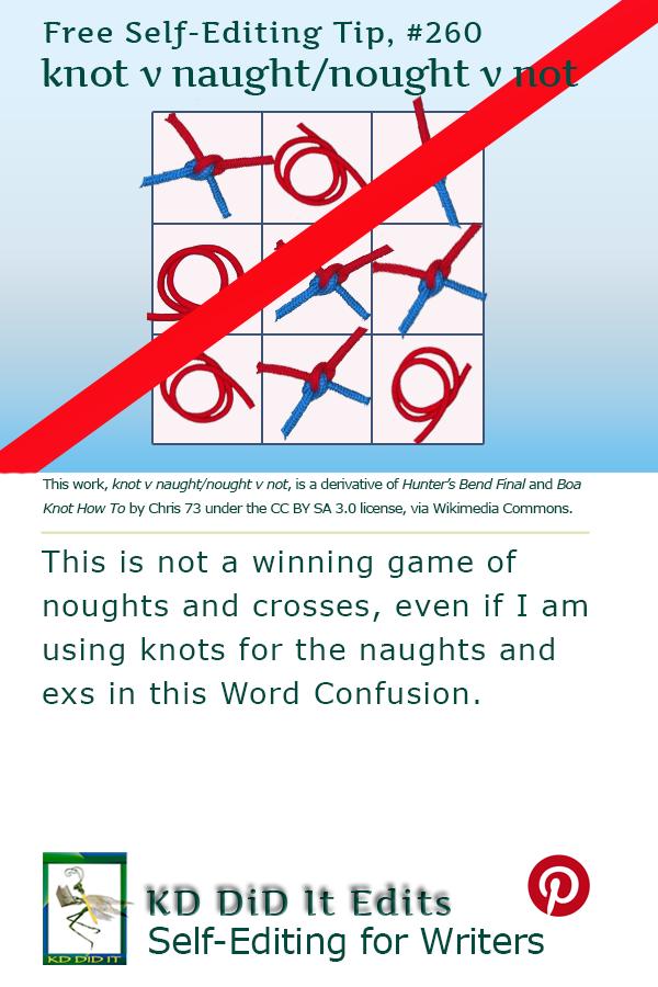 Pinterest pin for Knot vs Naught or Nought vs Not<