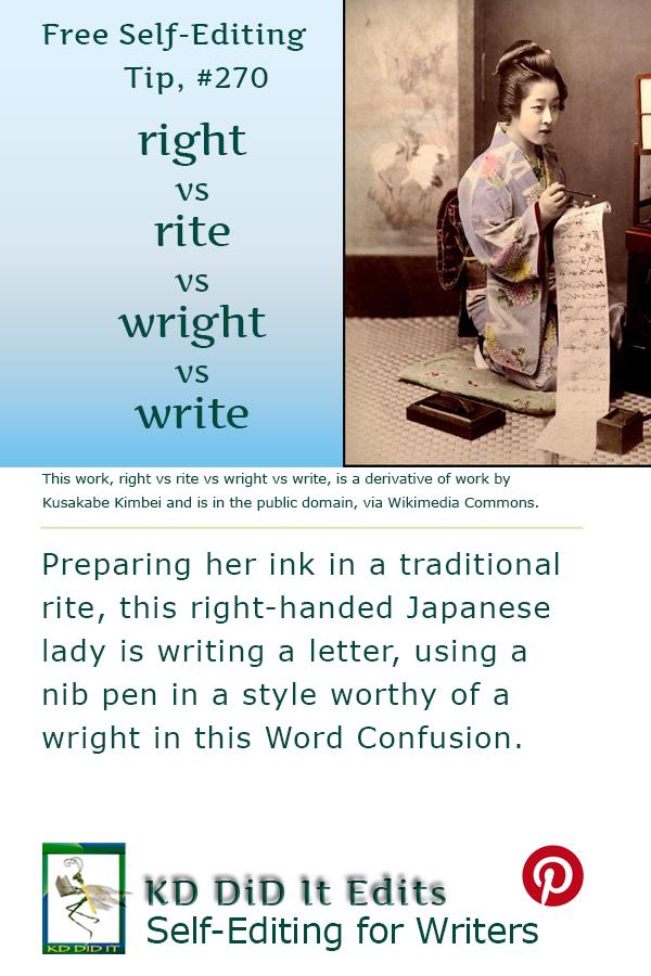 Pinterest pin for Right vs Rite vs Wright vs Write
