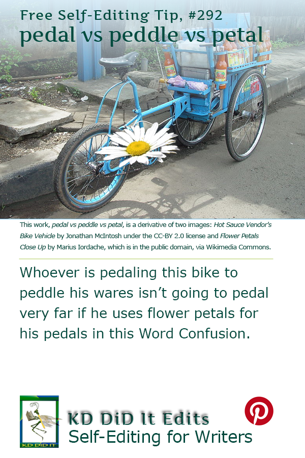 Pinterest pin for Pedal vs Peddle vs Petal