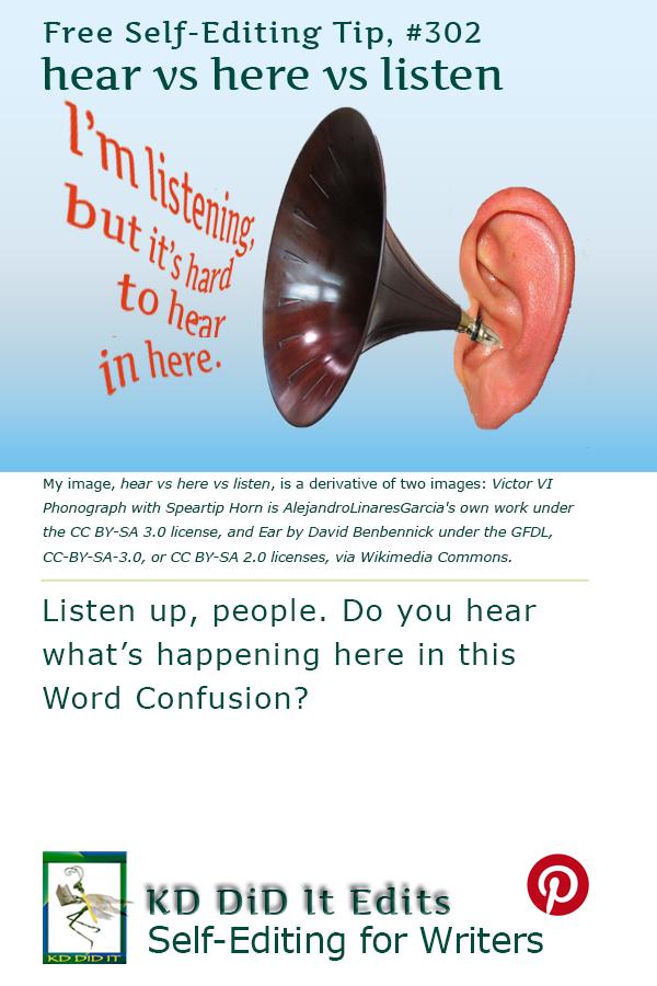 Pinterest pin for Hear vs Listen vs Here