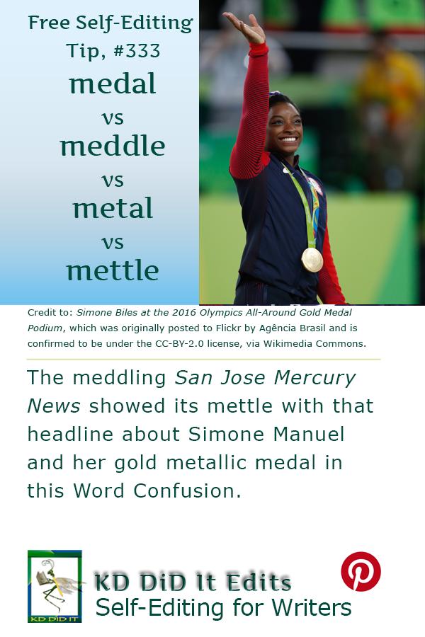 Pinterest pin for Medal v Meddle v Metal v Mettle