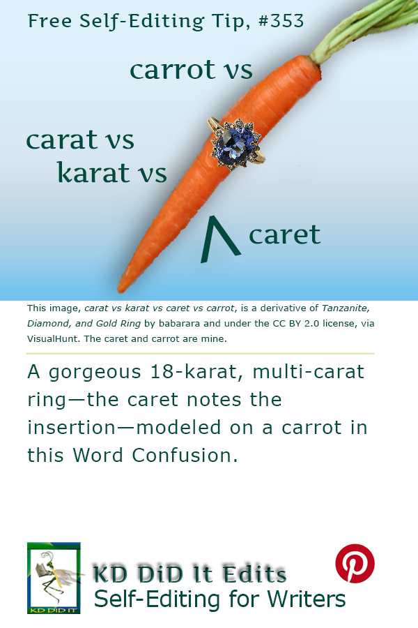 Pinterest pin for Carat v Karat v Caret v Carrot