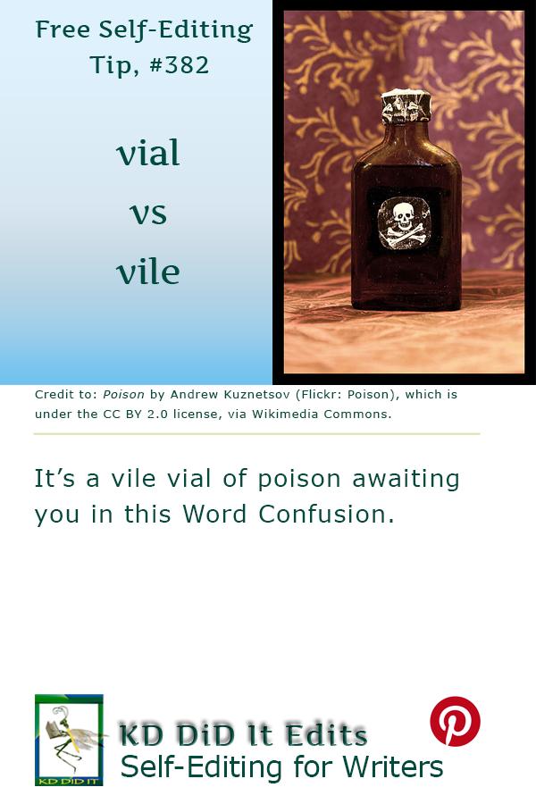 Pinterest pin for Vial versus Vile