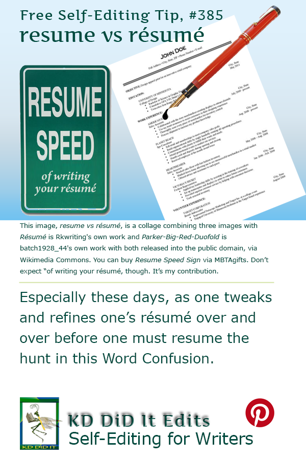 Pinterest pin for Resume versus Résumé