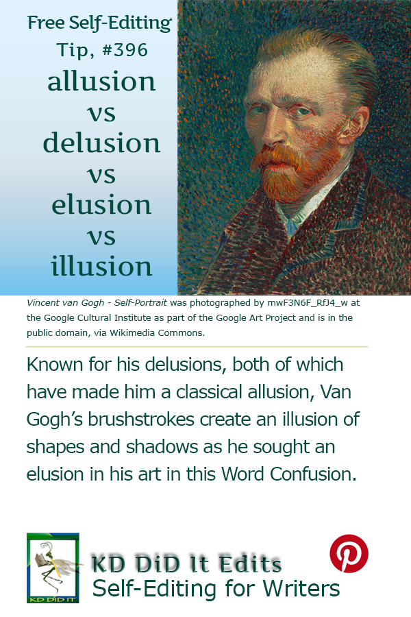 Pinterest pin for Allusion vs Delusion vs Elusion vs Illusion