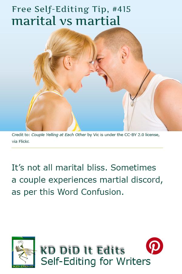 Pinterest pin for Marital versus Martial