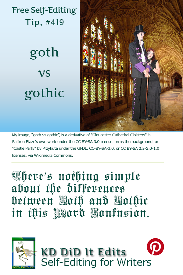 Pinterest pin for Goth versus Gothic