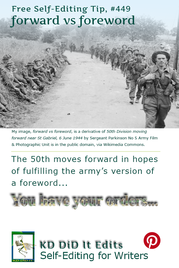 Pinterest pin for Forward versus Foreword