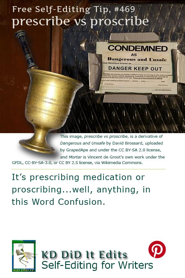 Pinterest pin for Prescribe versus Proscribe