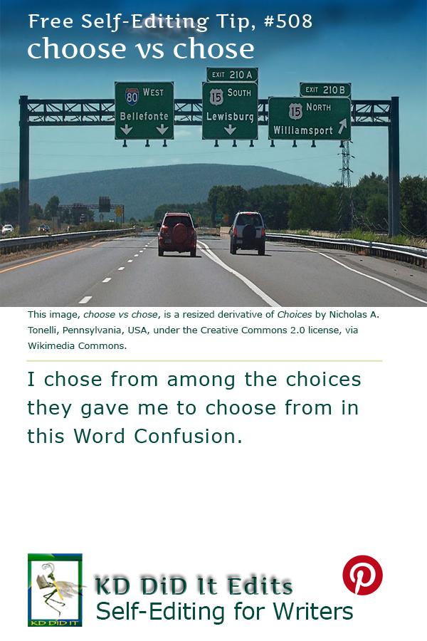 Pinterest pin for Choose versus Chose