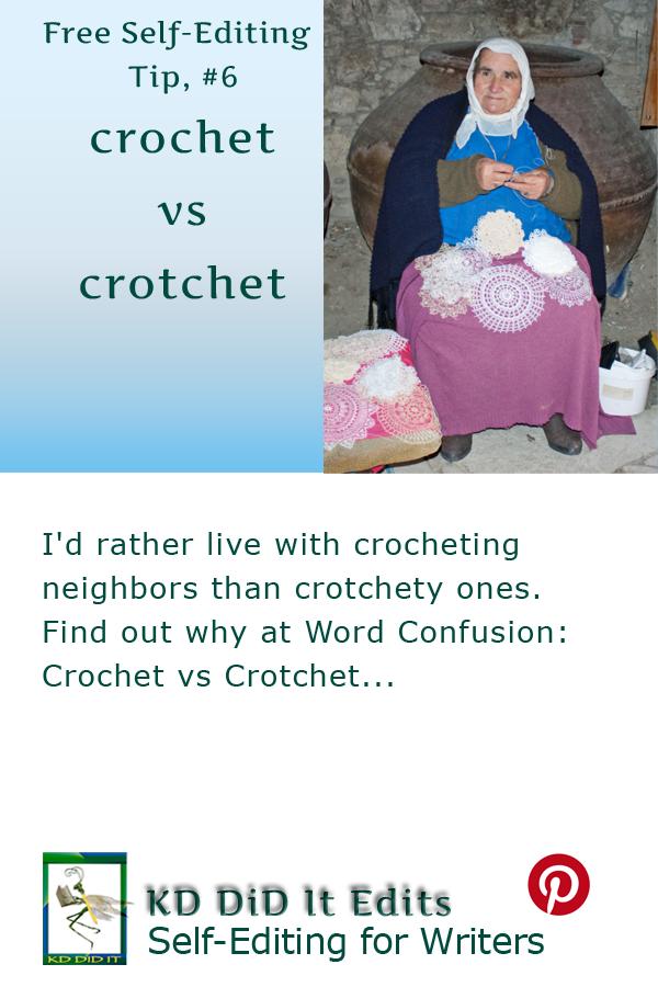 Pinterest pin for Crochet versus Crotchet