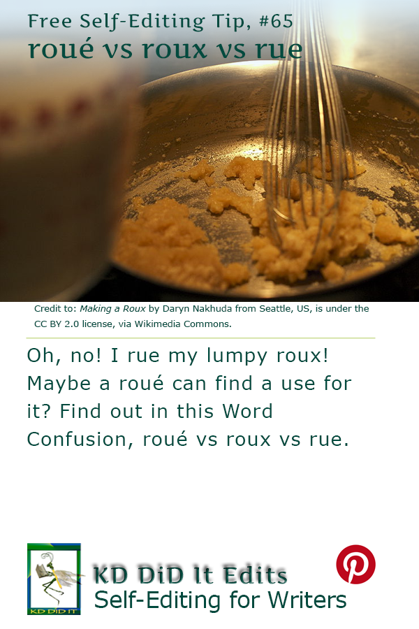 Pinterest pin for Roué vs Roux vs Rue