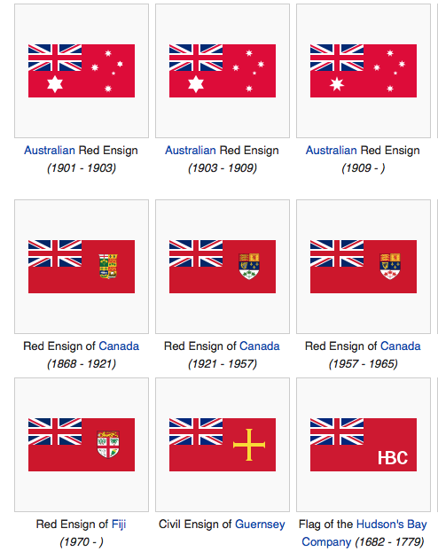 A sampling of ensign flags on a red ground