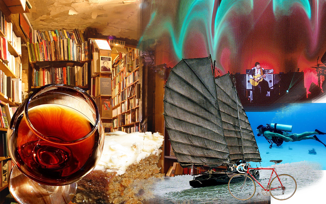 A collage of wine, cake, a bicycle, a junk, a rock band, and best of all, a bookshop.