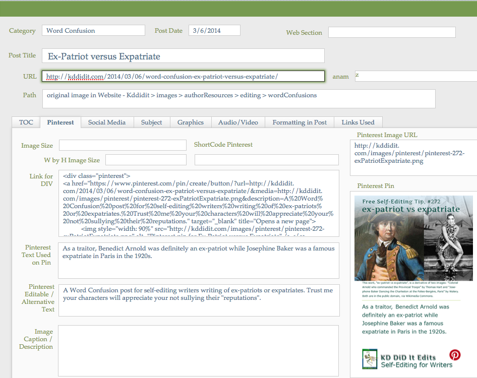Screenshot of an entry in my Blog Posts database