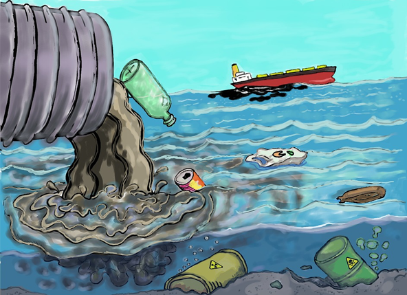 Cartoon graphic of litter pouring out of a sewage pipe into the ocean while a freighter is leaking oil in the distance