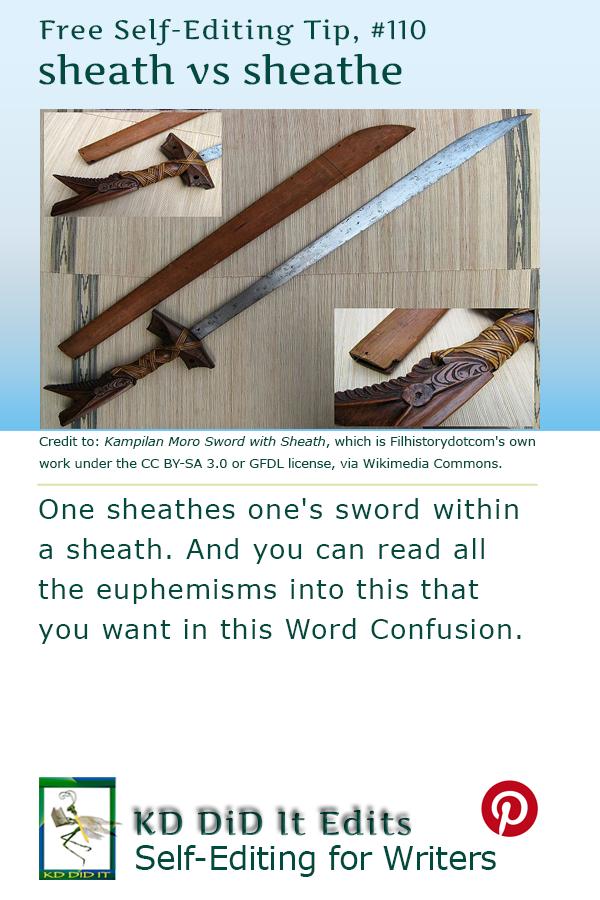 Pinterest pin for Sheath versus Sheathe