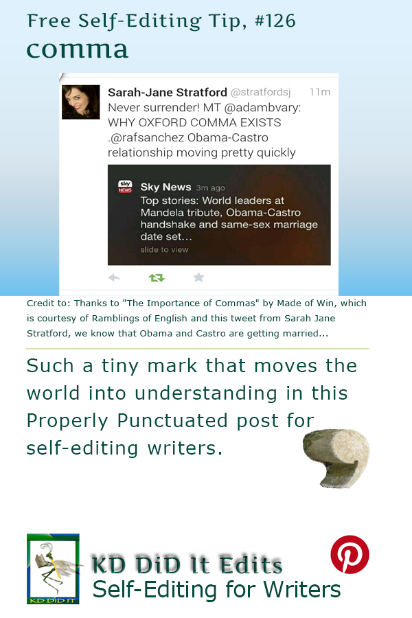 Properly Punctuated: Commas, or Eats Shoots and Leaves *
