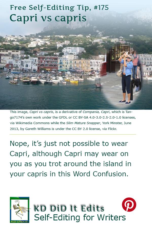 Pinterest pin for Capri versus capris