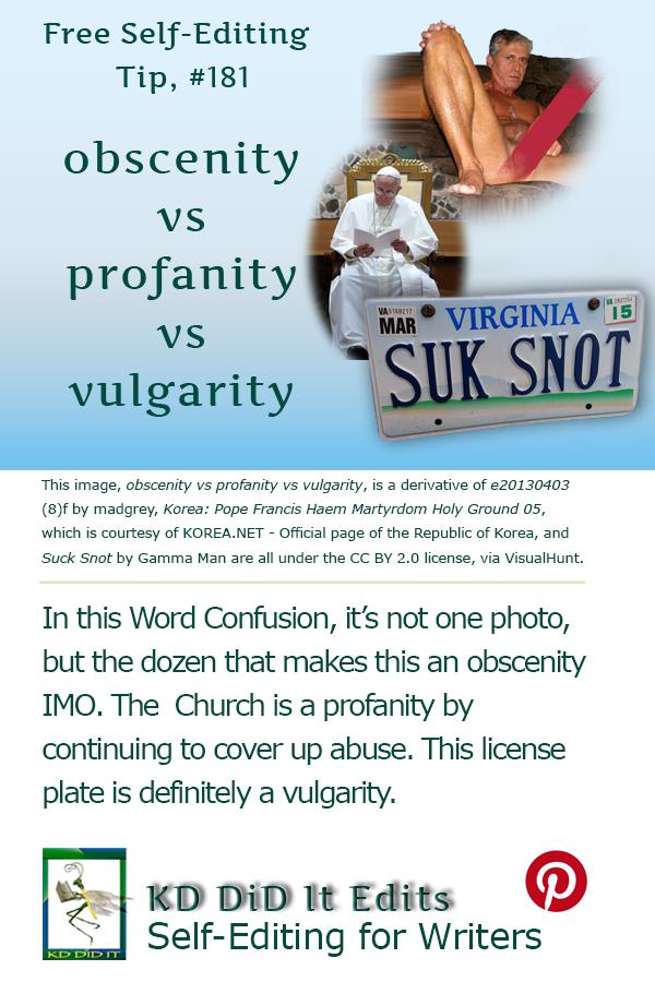 Pinterest pin for Obscenity vs Profanity vs Vulgarity