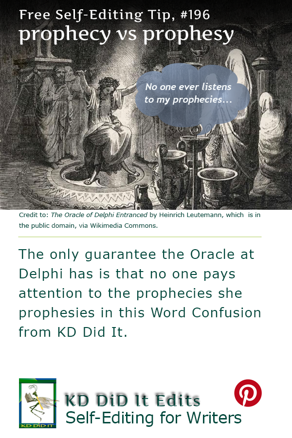 Pinterest pin for Prophecy versus Prophesy