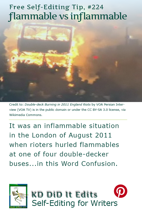 Pinterest pin for Flammable versus Inflammable