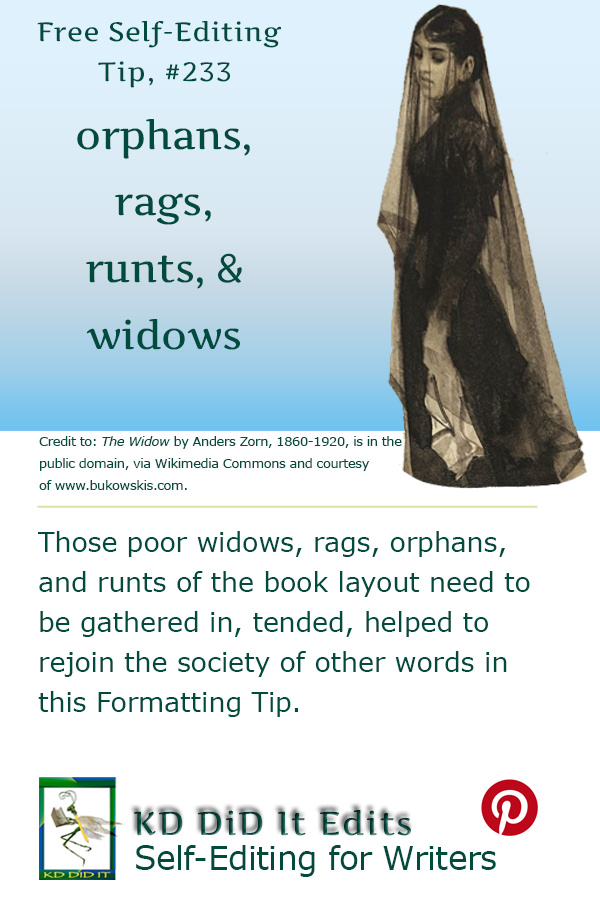 Formatting Tip: Widows and Orphans