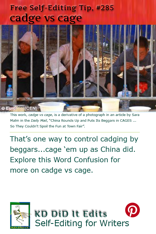 Pinterest pin for Cadge versus Cage