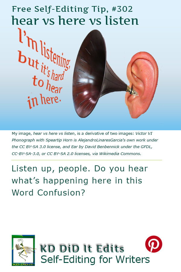 Pinterest pin for Hear vs Listen vs Here