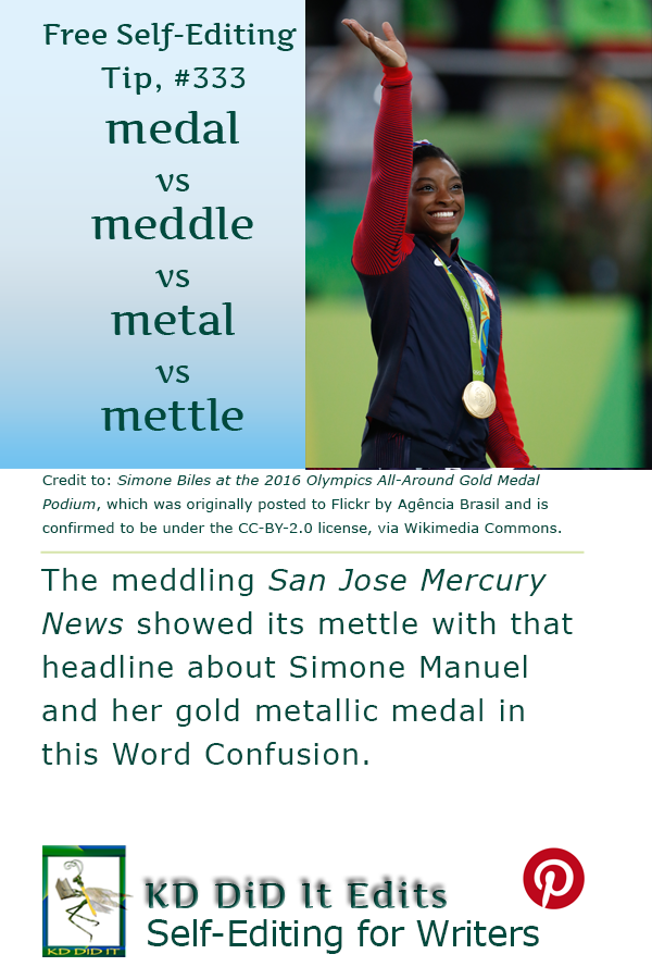 Pinterest pin for Medal vs Meddle vs Metal vs Mettle