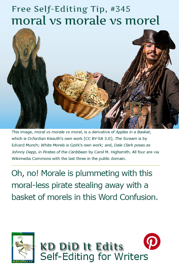 Pinterest pin for Moral vs Morale vs Morel