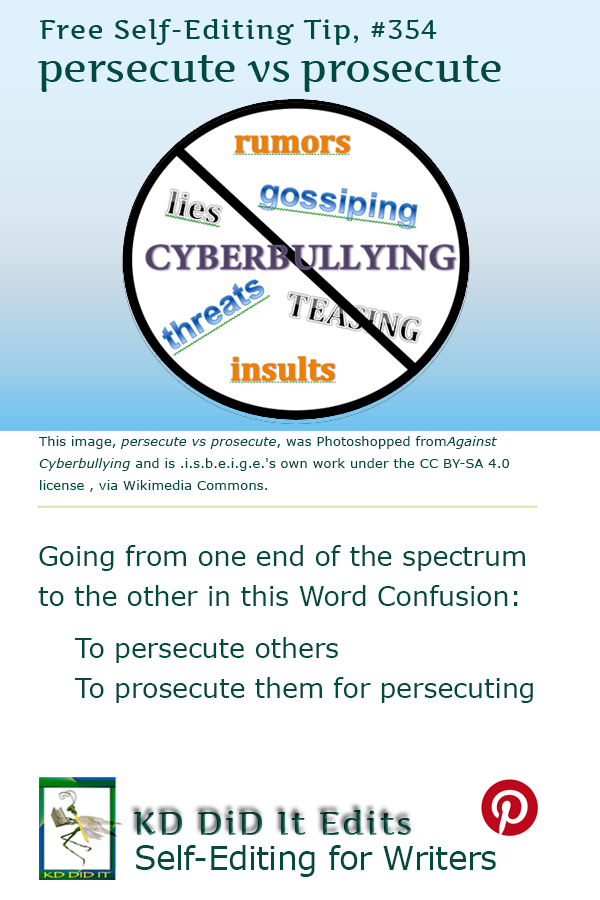 Pinterest pin for Persecute versus Prosecute