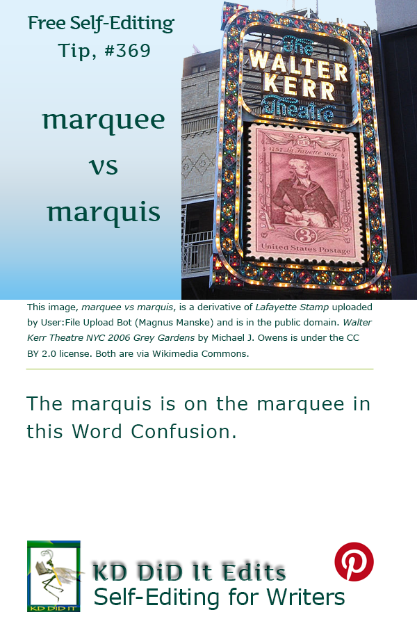 Word Confusion: Marquee versus Marquis