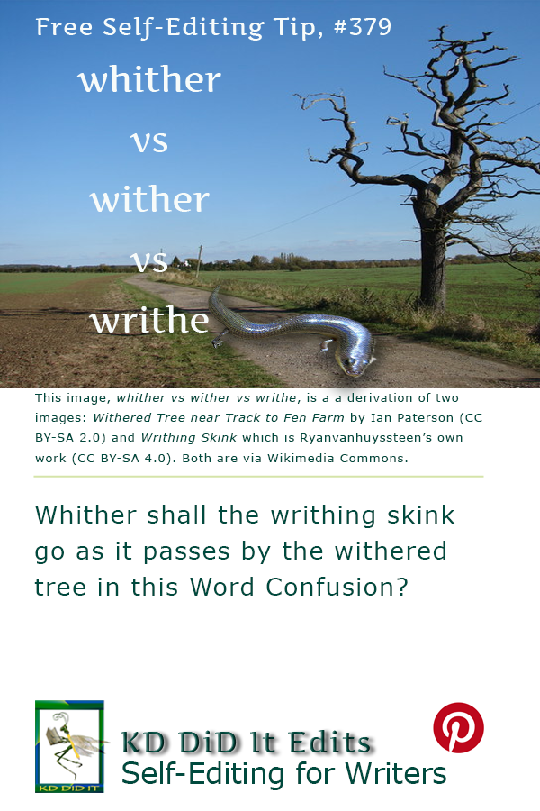 Pinterest pin for Whither vs. Wither vs. Writhe