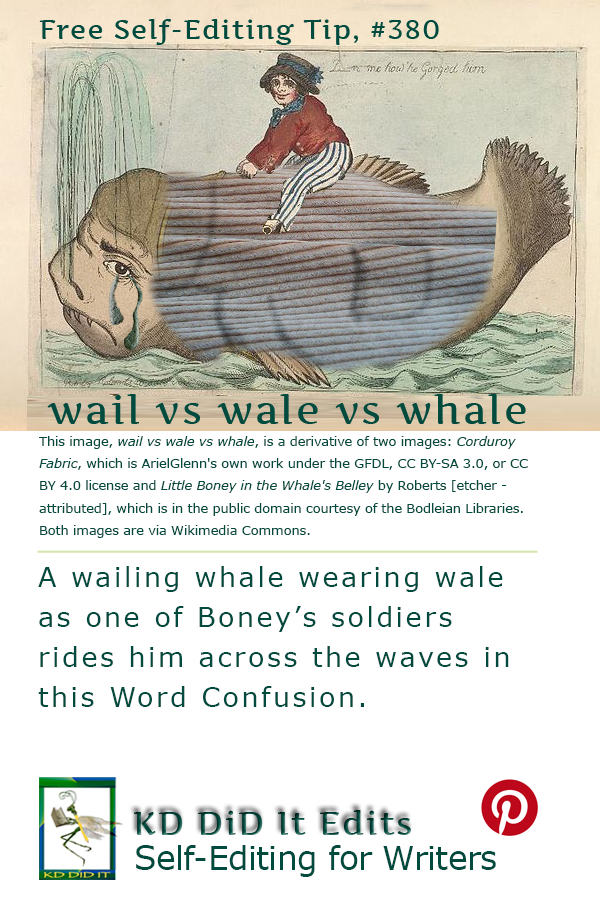 Pinterest pin for Wail vs Wale vs Whale