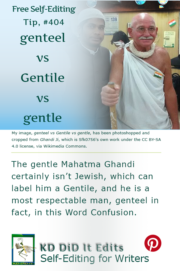 Pinterest pin for Genteel vs Gentile vs Gentle