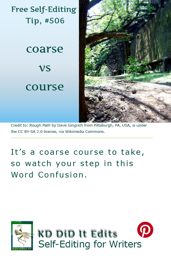 Pinterest pin for Coarse versus Course