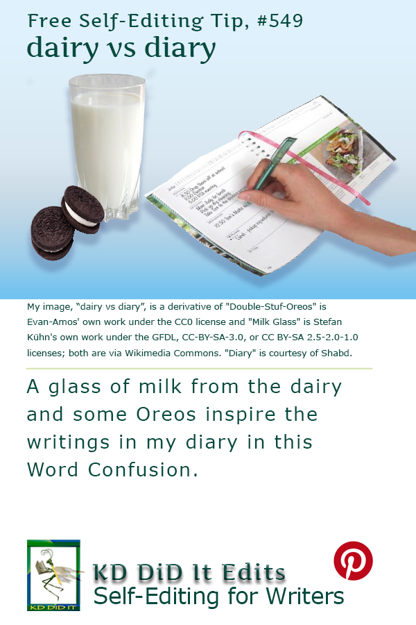 Pinterest pin for Dairy versus Diary