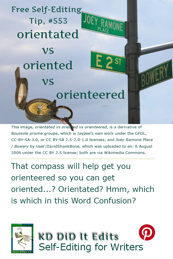 Pinterest pin for Orientated vs Oriented vs Orienteered