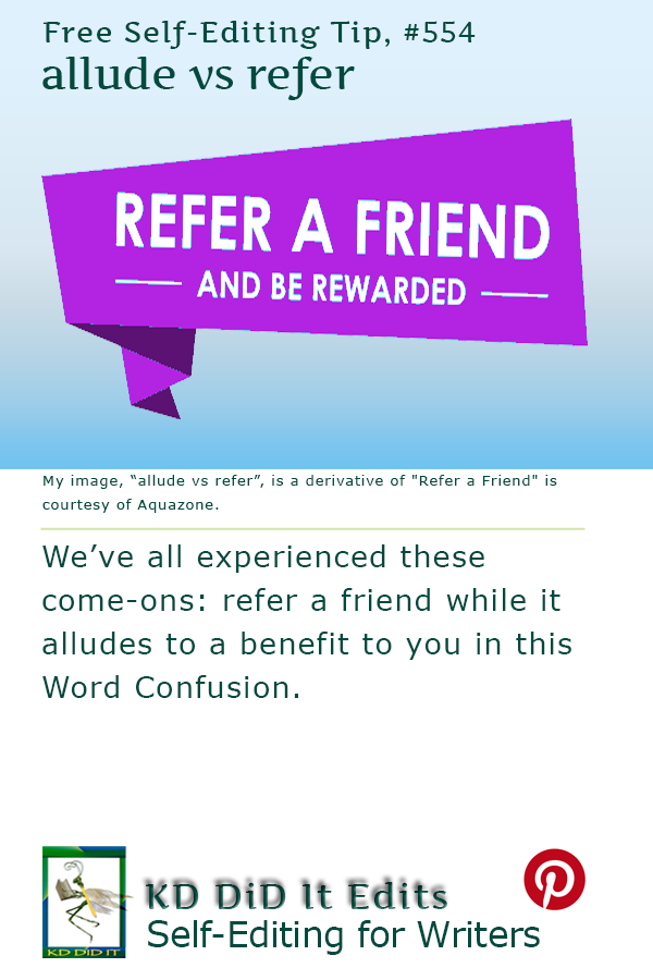 Pinterest pin for Allude versus Refer